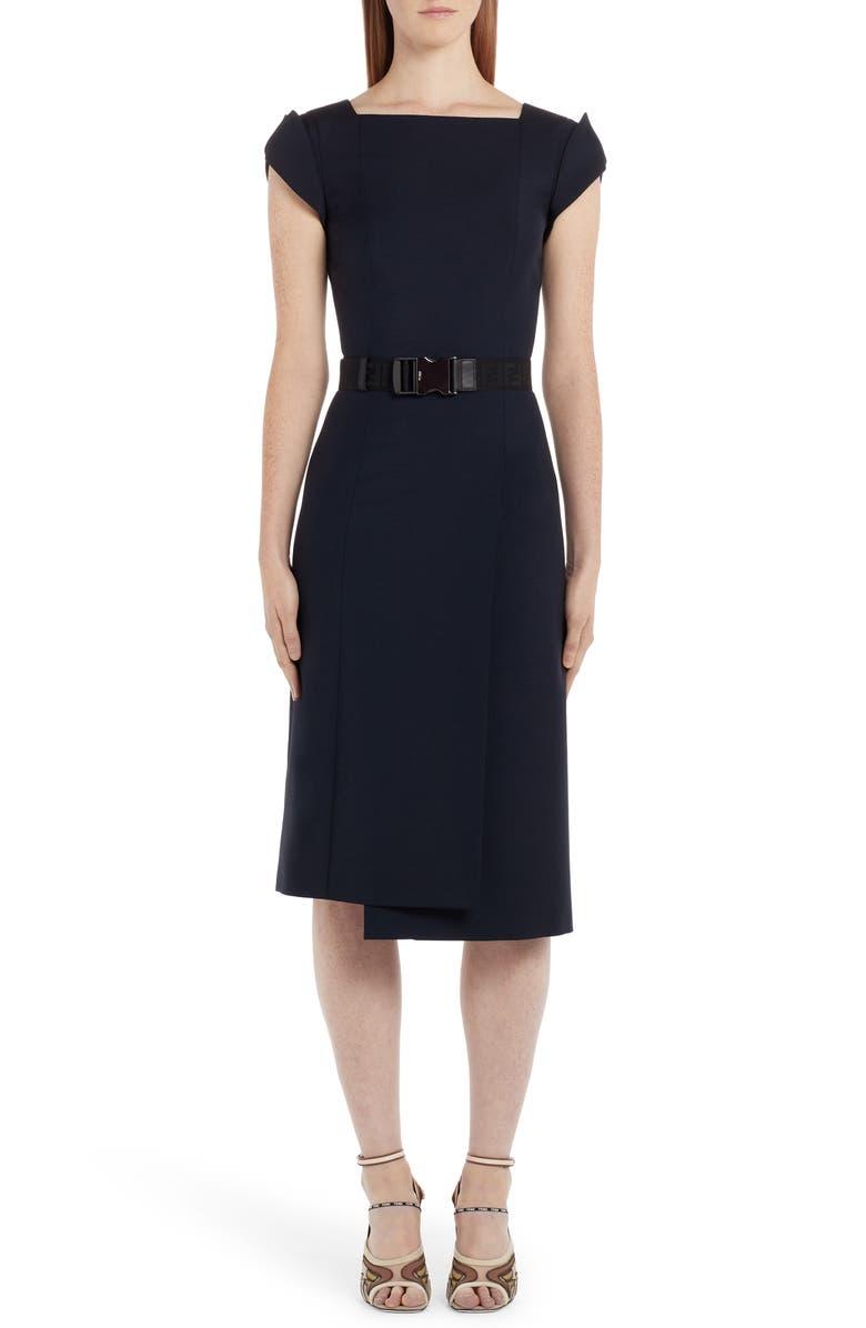 FENDI Belted Cap Sleeve Dress, Main, color, ACAI