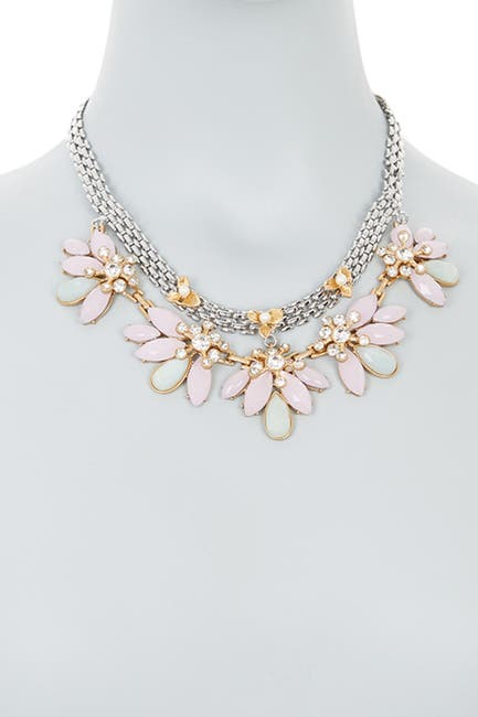 Image of Carolee Two-Row Embellished Flower Collar Necklace