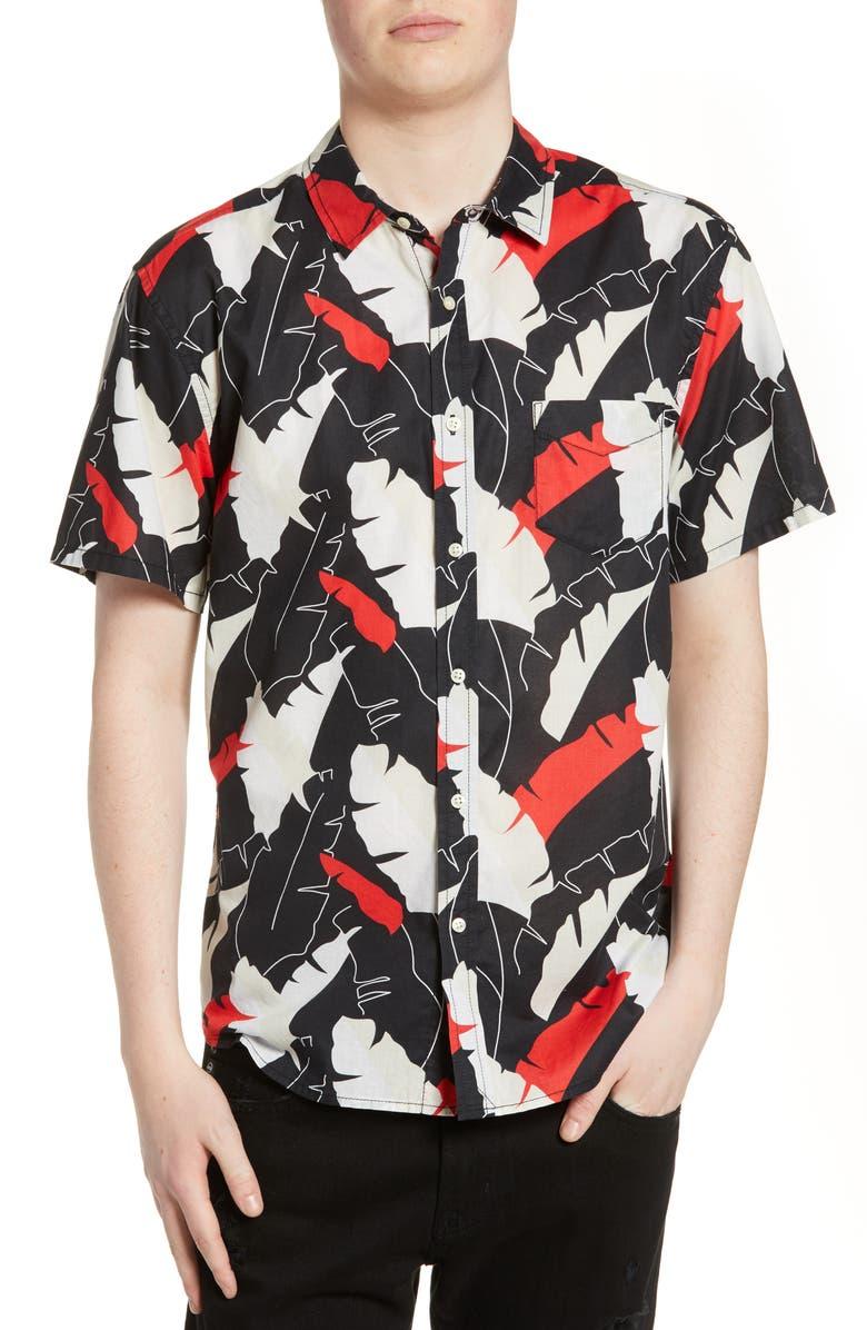 LIFE/AFTER/DENIM Twin Palm Regular Fit Short Sleeve Button-Up Shirt, Main, color, 001