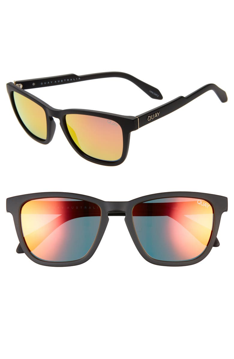 QUAY AUSTRALIA Hardwire 54mm Polarized Sunglasses, Main, color, BLACK/ ORANGE