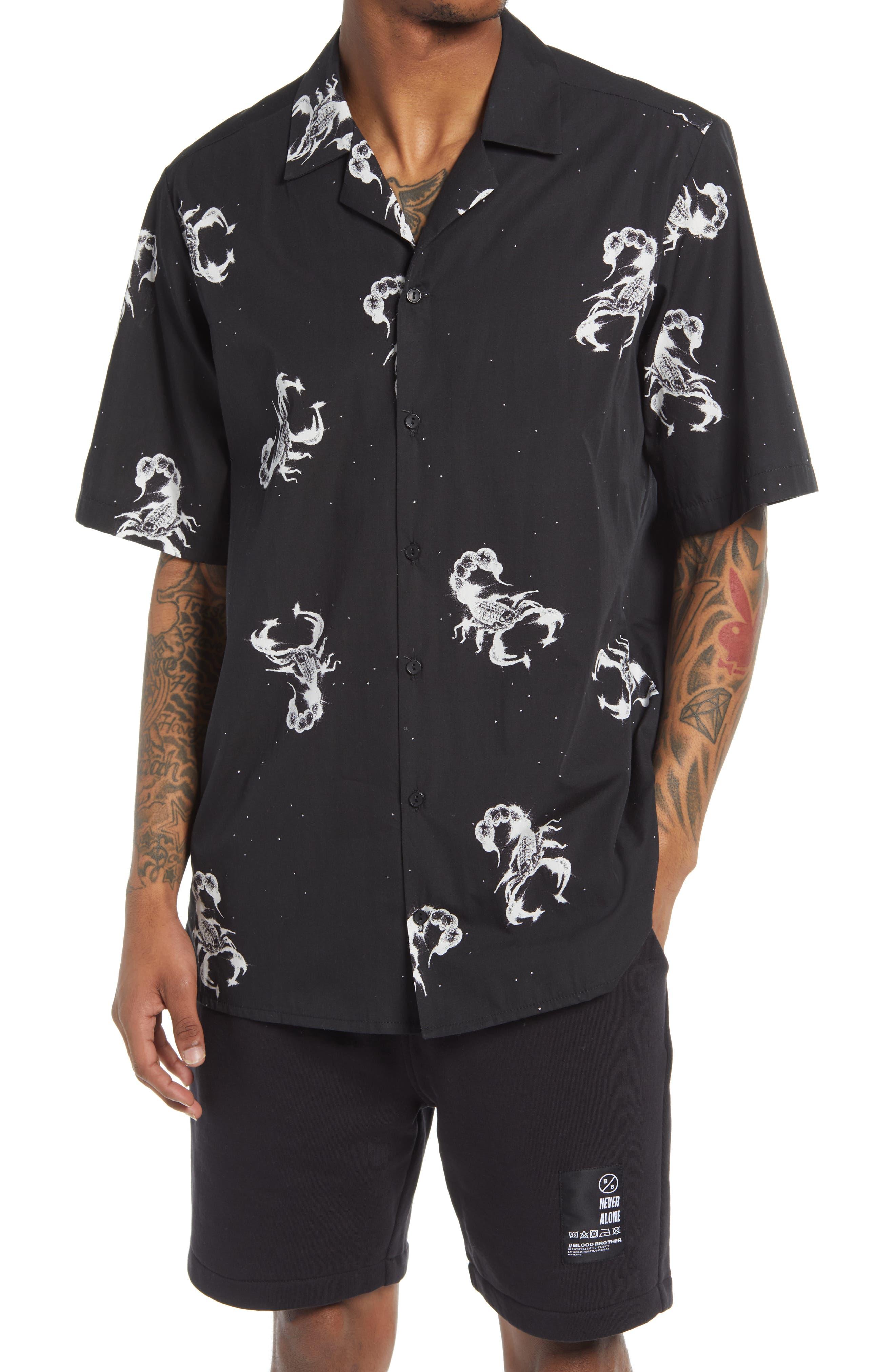 Wonderland 1044 Scorpion Short Sleeve Button-Up Camp Shirt