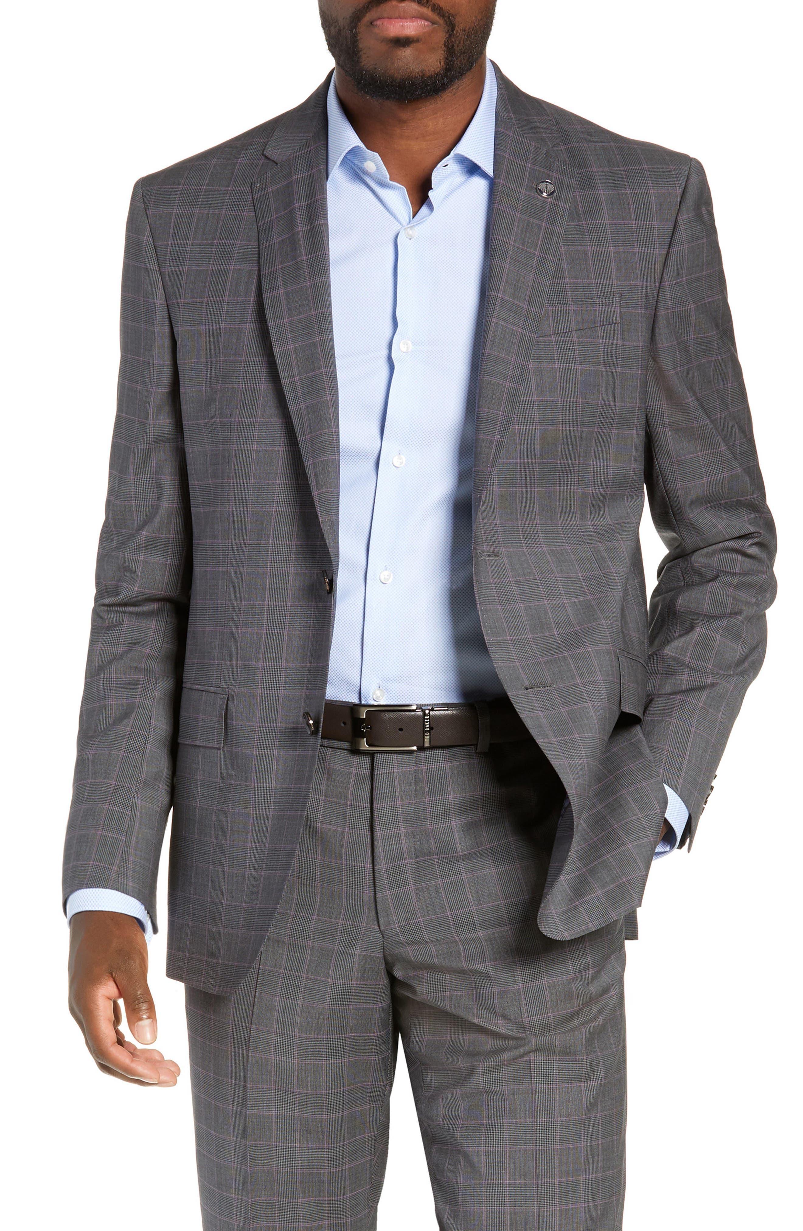 ,                             Jay Trim Fit Plaid Wool Suit,                             Alternate thumbnail 5, color,                             020