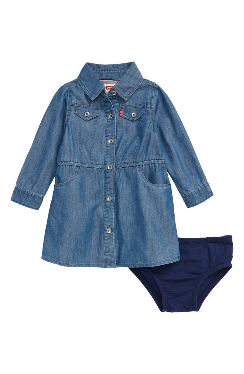 LEVI'S<SUP>®</SUP> Osborn Chambray Dress & Bloomers Set, Main, color, CLEAN MEDIUM