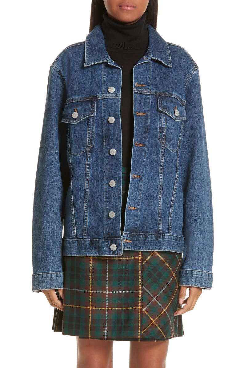 BURBERRY Rowledge Archive Logo Denim Jacket, Main, color, 400