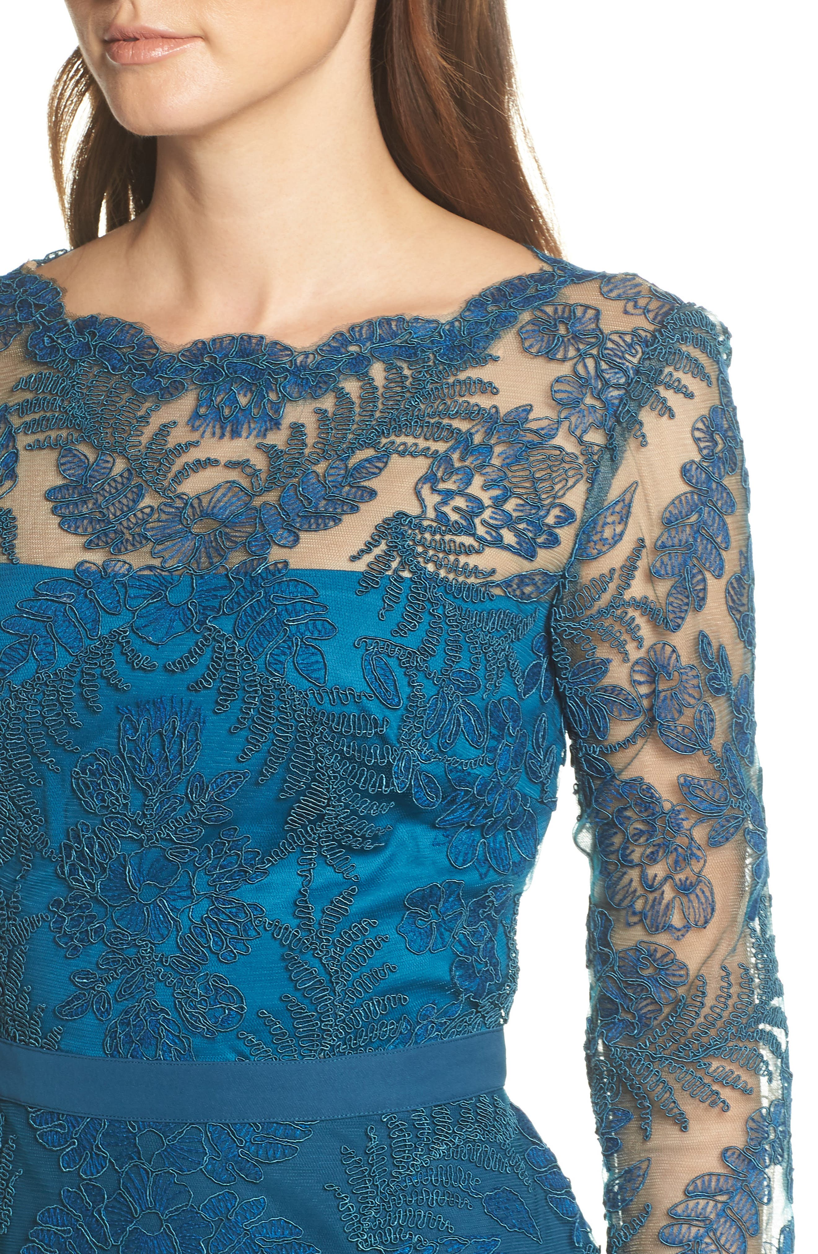 ,                             Lace & Crepe Long Sleeve Evening Gown,                             Alternate thumbnail 5, color,                             CERULEAN