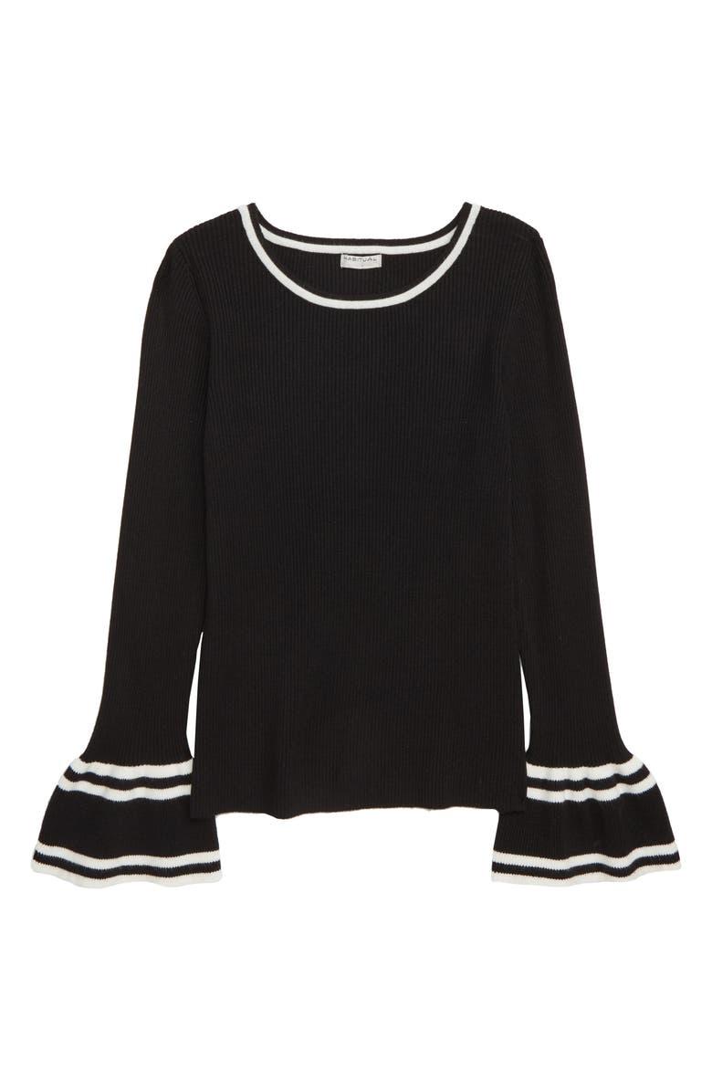 HABITUAL GIRL Habitual Kids Rylie Bell Sleeve Ribbed Sweater, Main, color, 001
