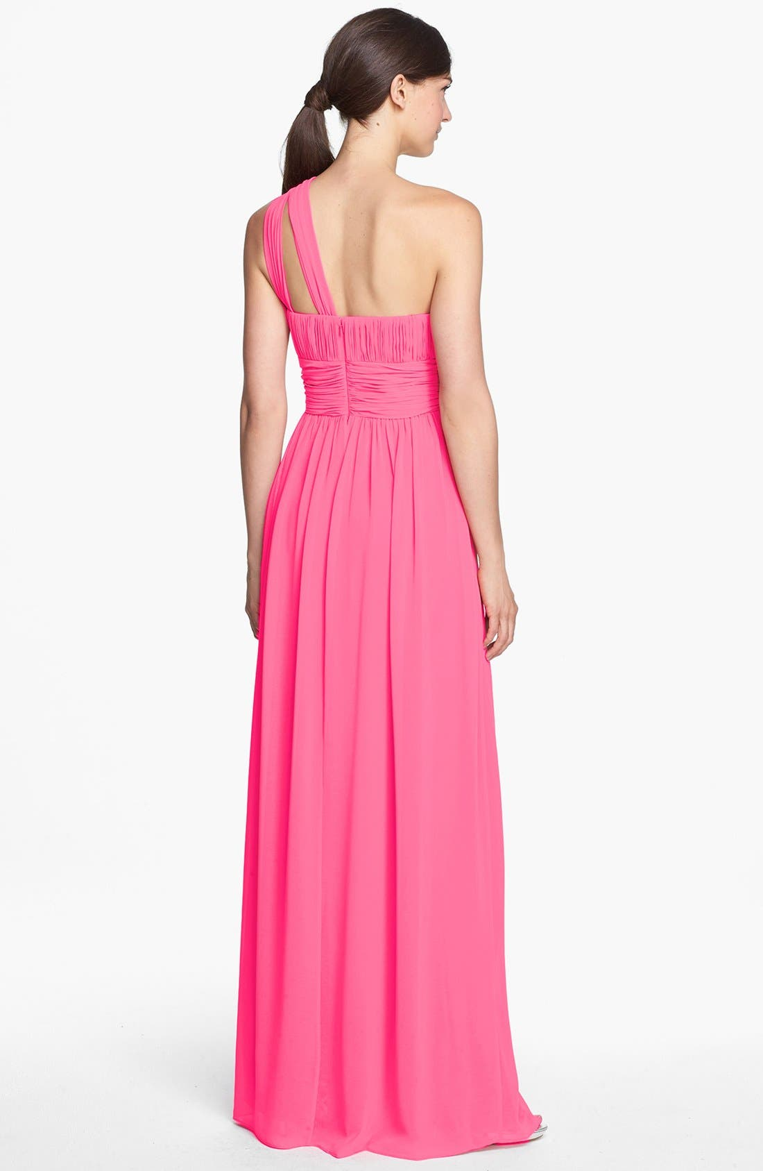 ,                             'Rachel' Ruched One-Shoulder Chiffon Gown,                             Alternate thumbnail 112, color,                             653