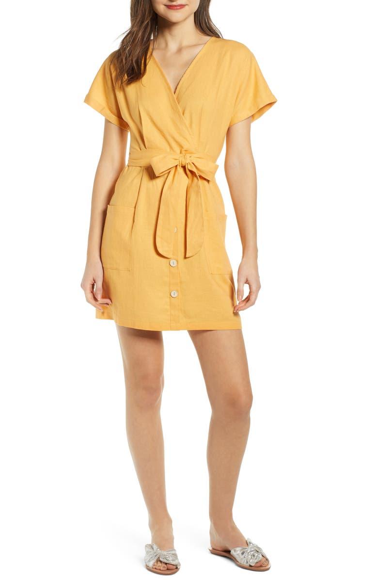 ALL IN FAVOR Linen Blend Surplice Dress, Main, color, 700