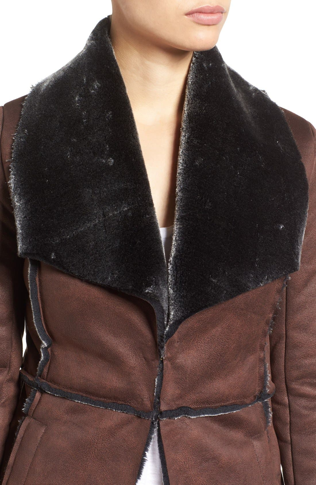 ,                             'Abigail' Faux Shearling Coat,                             Alternate thumbnail 4, color,                             201