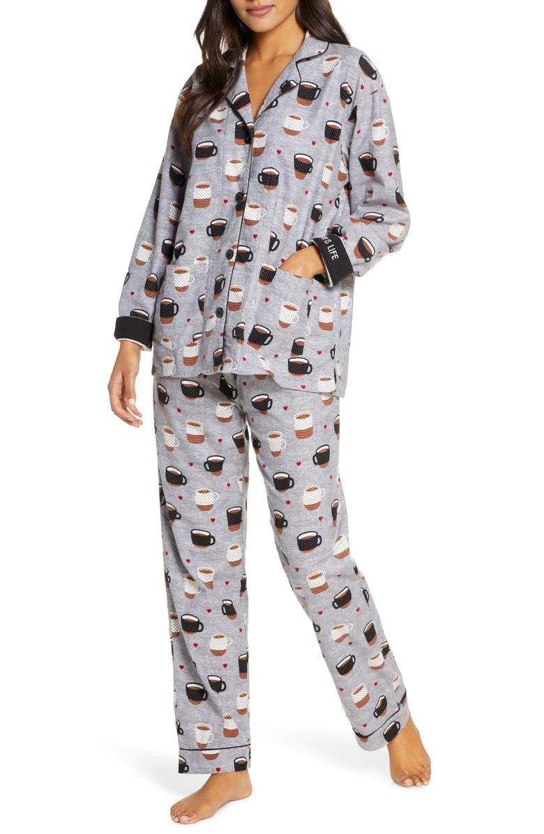 PJ SALVAGE Print Flannel Pajamas, Main, color, HEATHER GREY