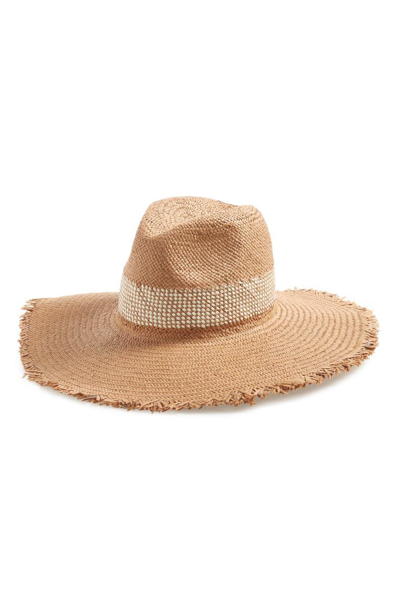 TREASURE & BOND Frayed Edge Straw Panama Hat, Main, color, 200