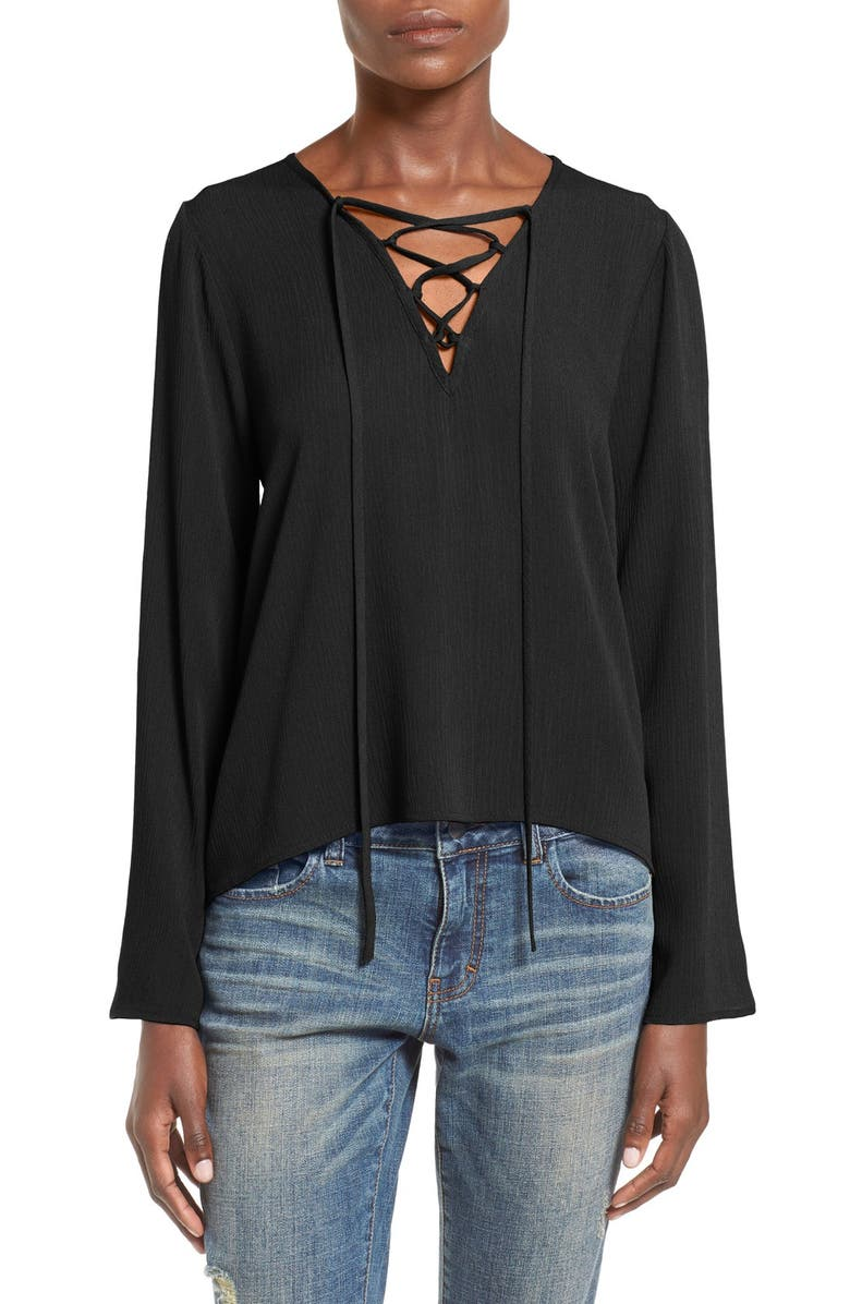 PAINTED THREADS Lace Up Top, Main, color, 001