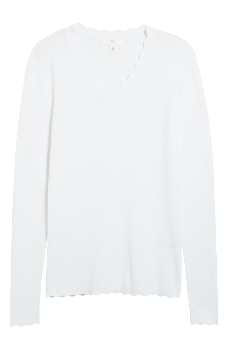 1901 Scallop Trim V-Neck Sweater, Main, color, 100