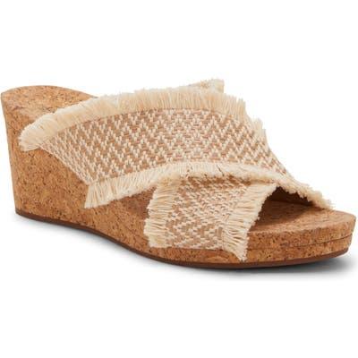 Lucky Brand Khillian Woven Wedge Slide Sandal- Beige