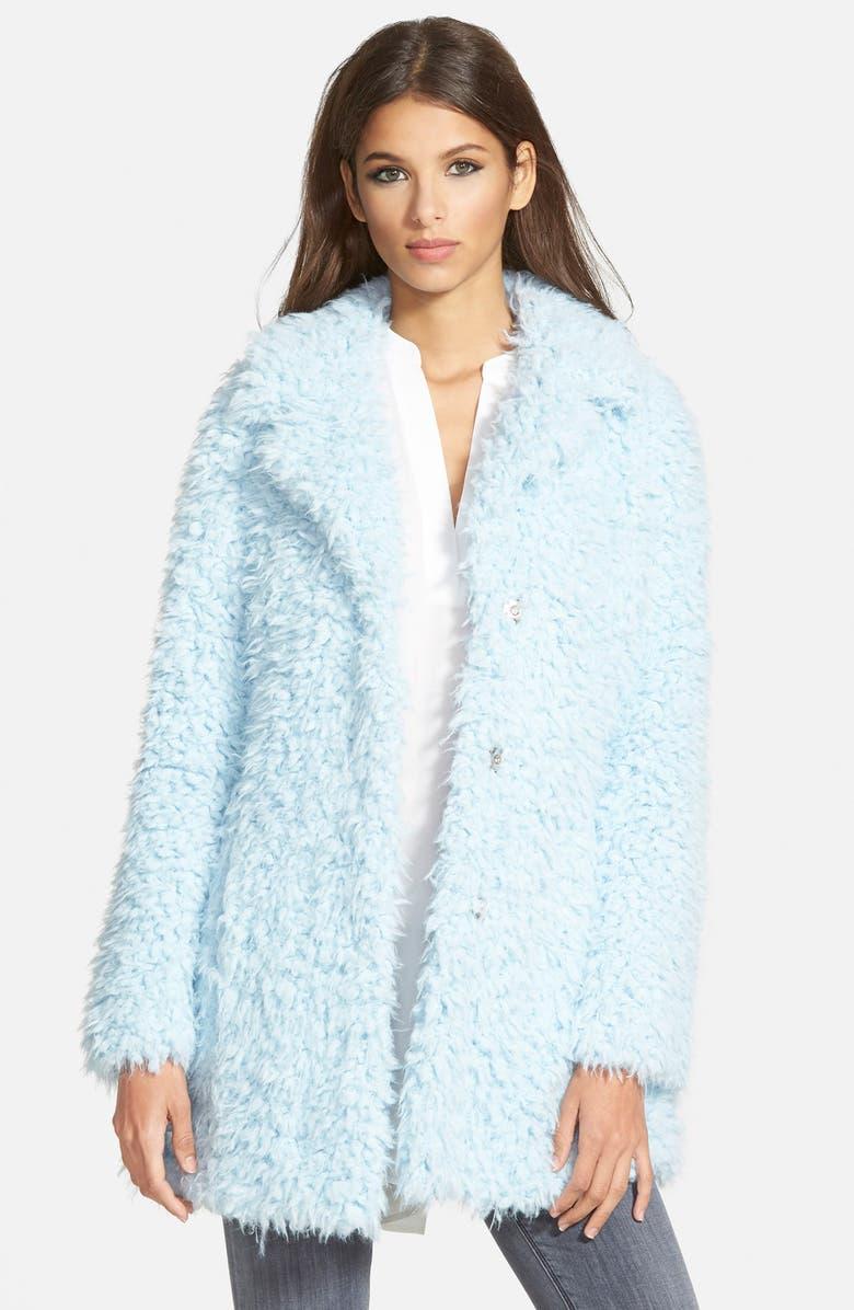 GUESS 'Teddy Bear' Notch Collar Faux Fur Coat, Main, color, 400