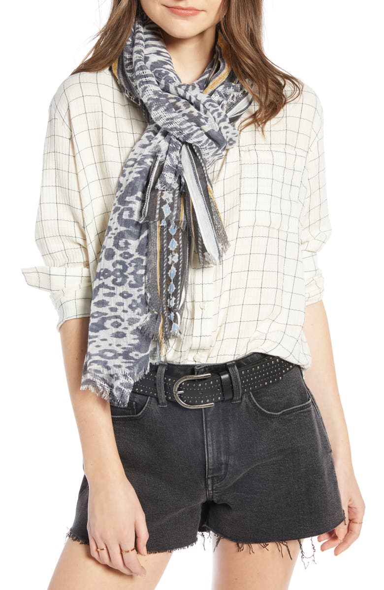 TREASURE & BOND Textured Print Scarf, Main, color, 401