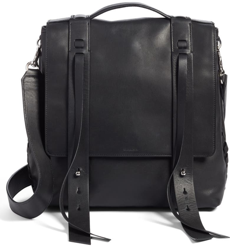ALLSAINTS Fin Leather Backpack, Main, color, BLACK