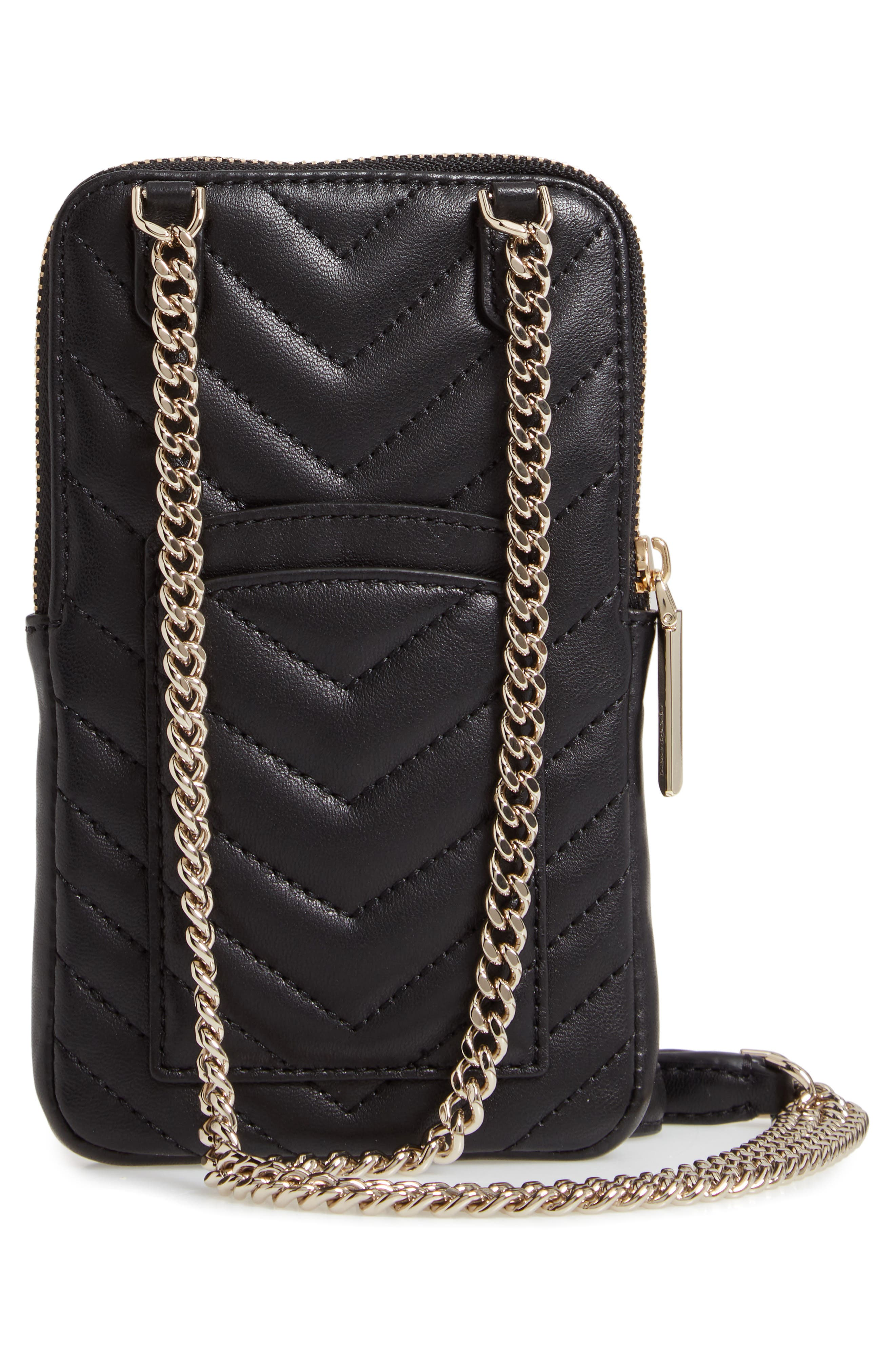 ,                             amelia quilted leather phone crossbody bag,                             Alternate thumbnail 4, color,                             BLACK
