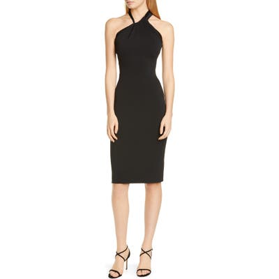Cushnie Asymmetrical Halter Body-Con Dress, Black