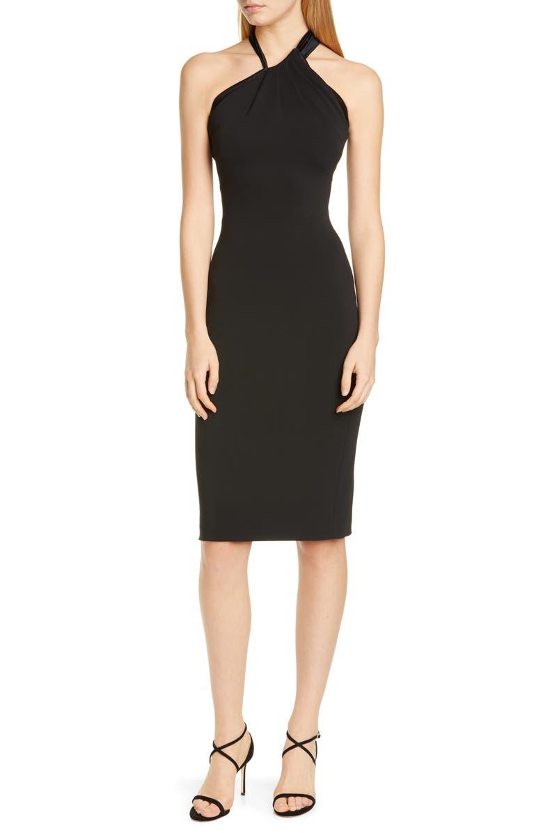 CUSHNIE Asymmetrical Halter Body-Con Dress, Main, color, BLACK
