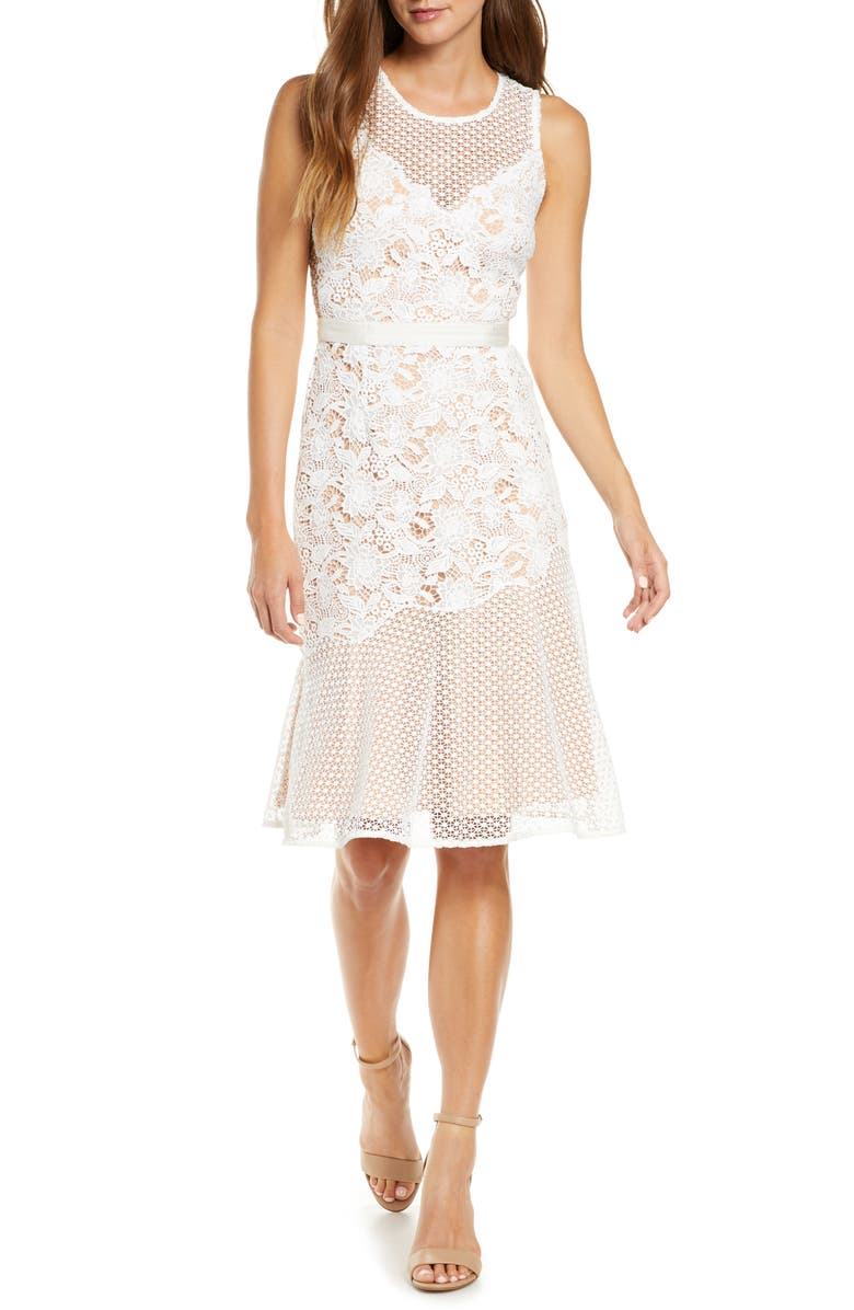 ADELYN RAE Lily Mixed Lace Dress, Main, color, OFF WHITE
