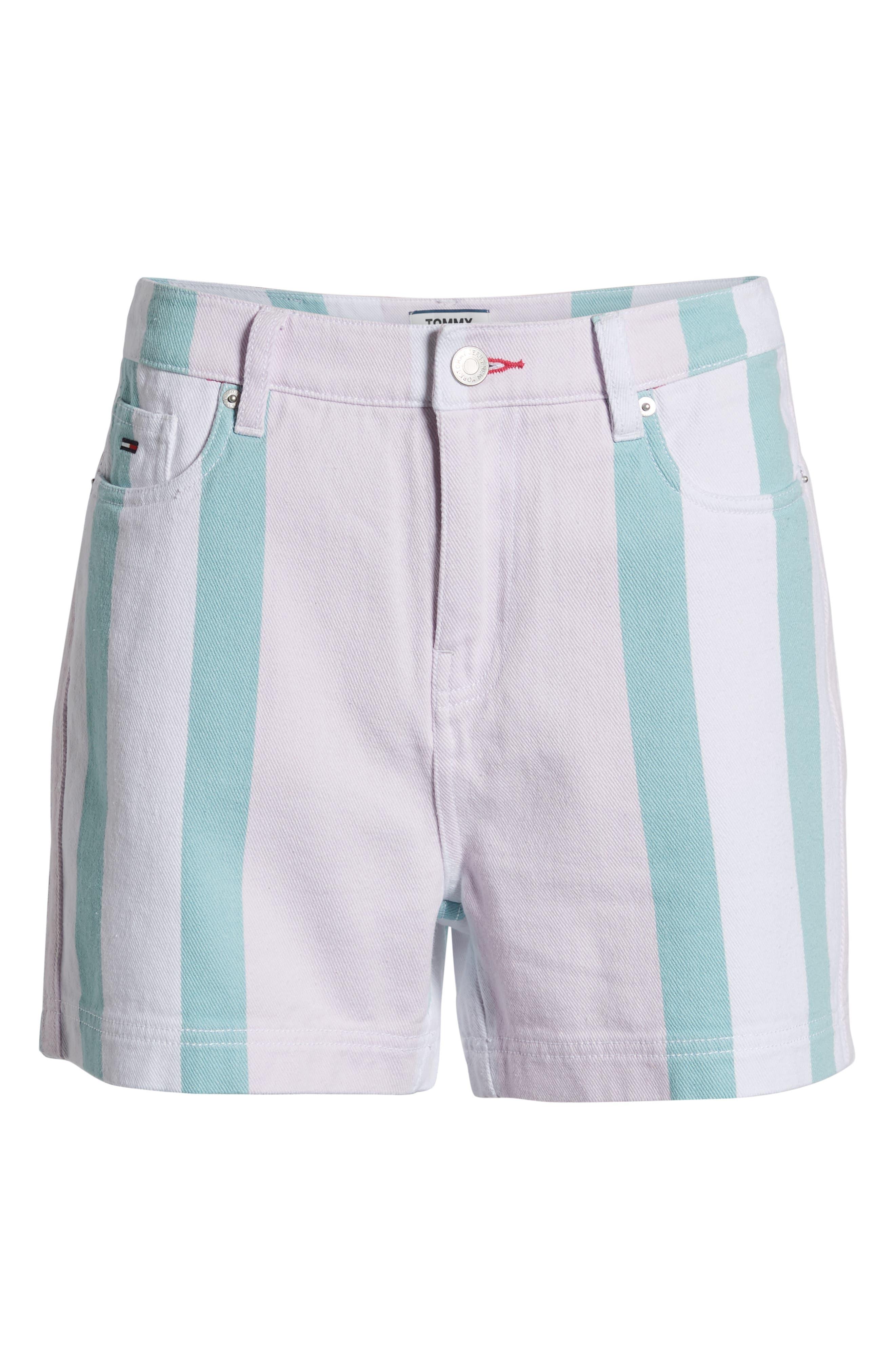 ,                             High Waist Stripe Denim Mom Shorts,                             Alternate thumbnail 7, color,                             BOLD PASTEL STRIPE