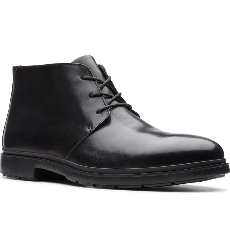 CLARKS<SUP>®</SUP> Un Tailor Chukka Boot, Main, color, BLACK LEATHER
