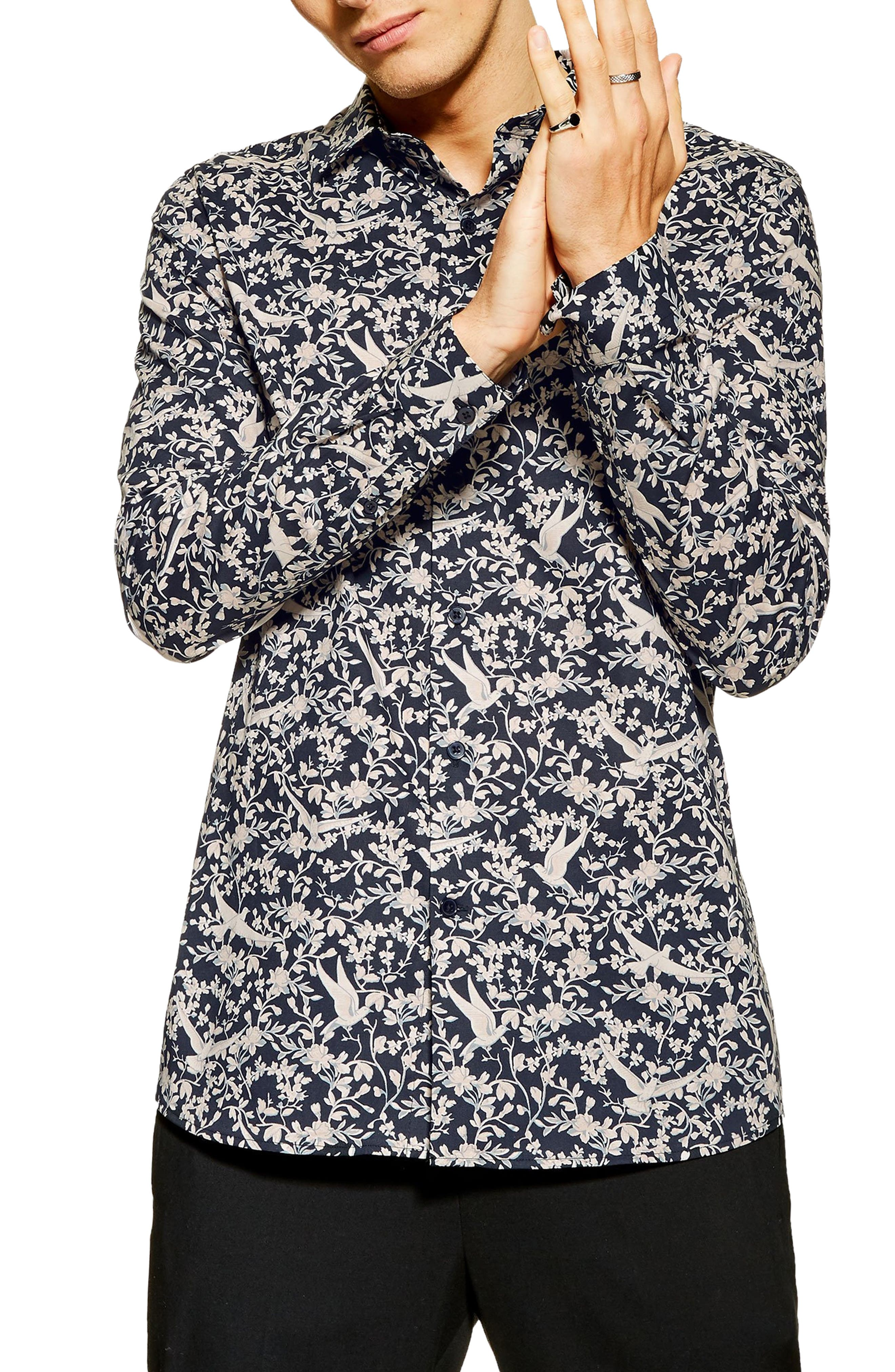 ,                             Stretch Skinny Fit Floral Print Shirt,                             Main thumbnail 1, color,                             NAVY MULTI