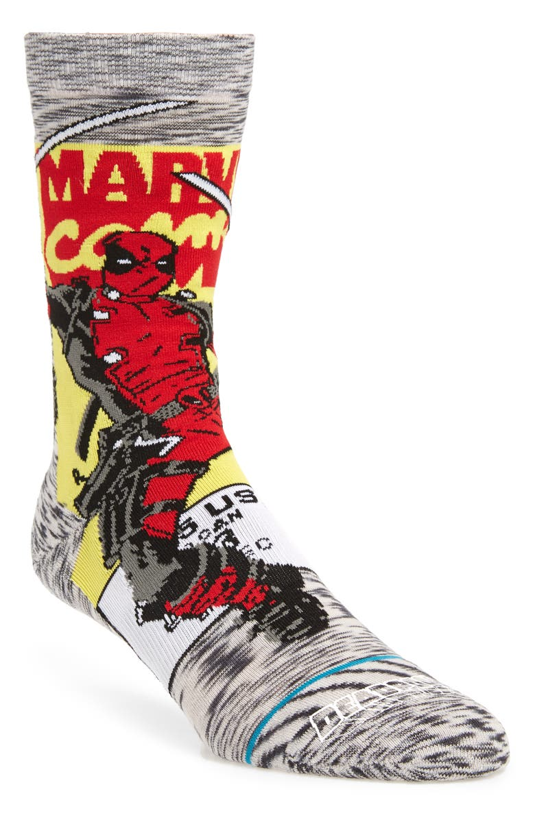 STANCE Deadpool Comic Socks, Main, color, GREY