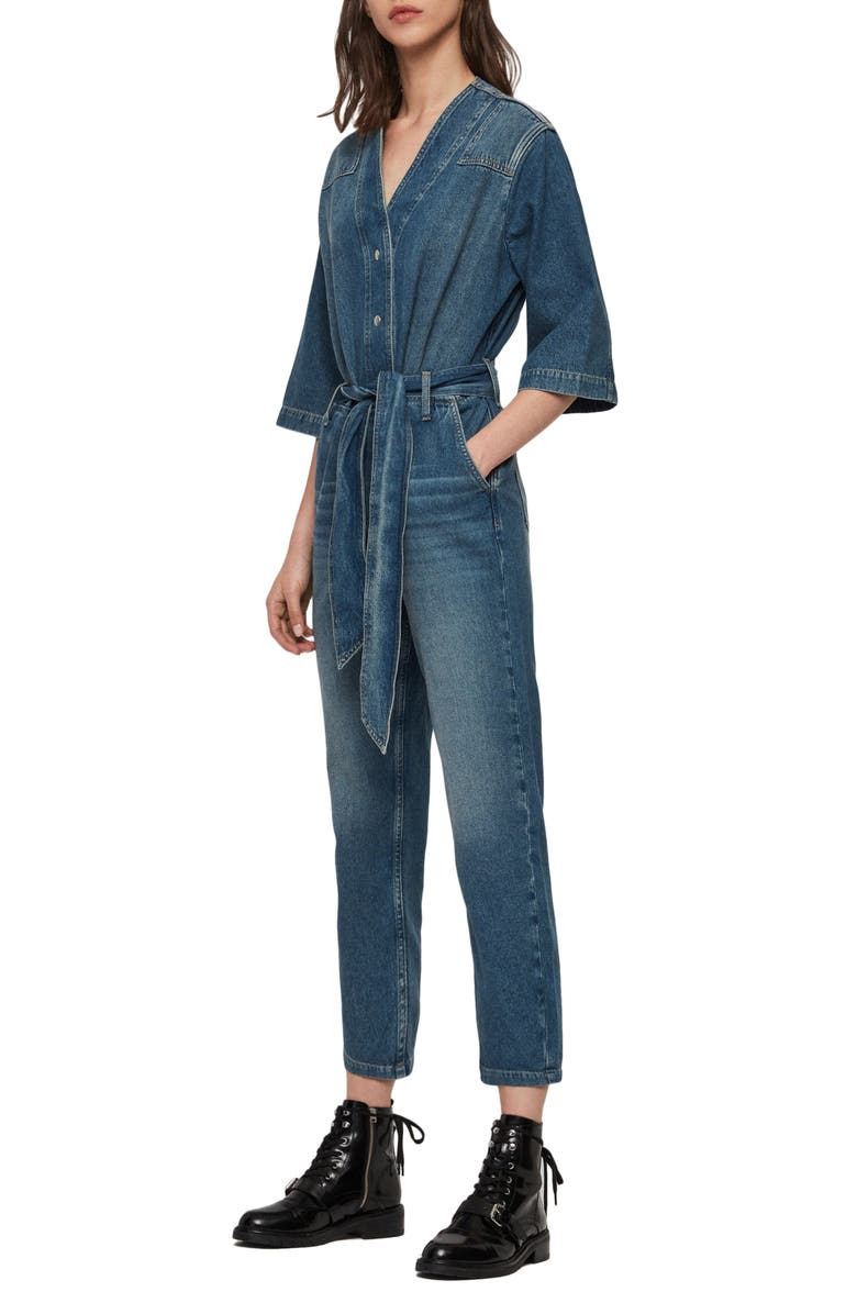 ALLSAINTS Utility Denim Jumpsuit, Main, color, WASHED INDIGO