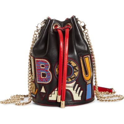 Christian Louboutin Marie Jane Alpha Embroidered Calfskin Leather Bucket Bag - Black (Nordstrom Exclusive)