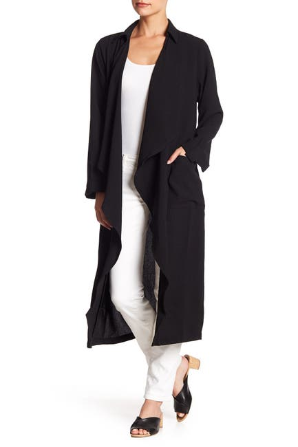 Image of Lush Draped Open Front Trench Duster