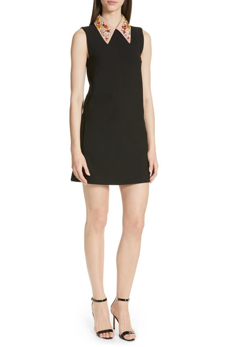 N°21 Nº21 Beaded Collar Shift Dress, Main, color, 001