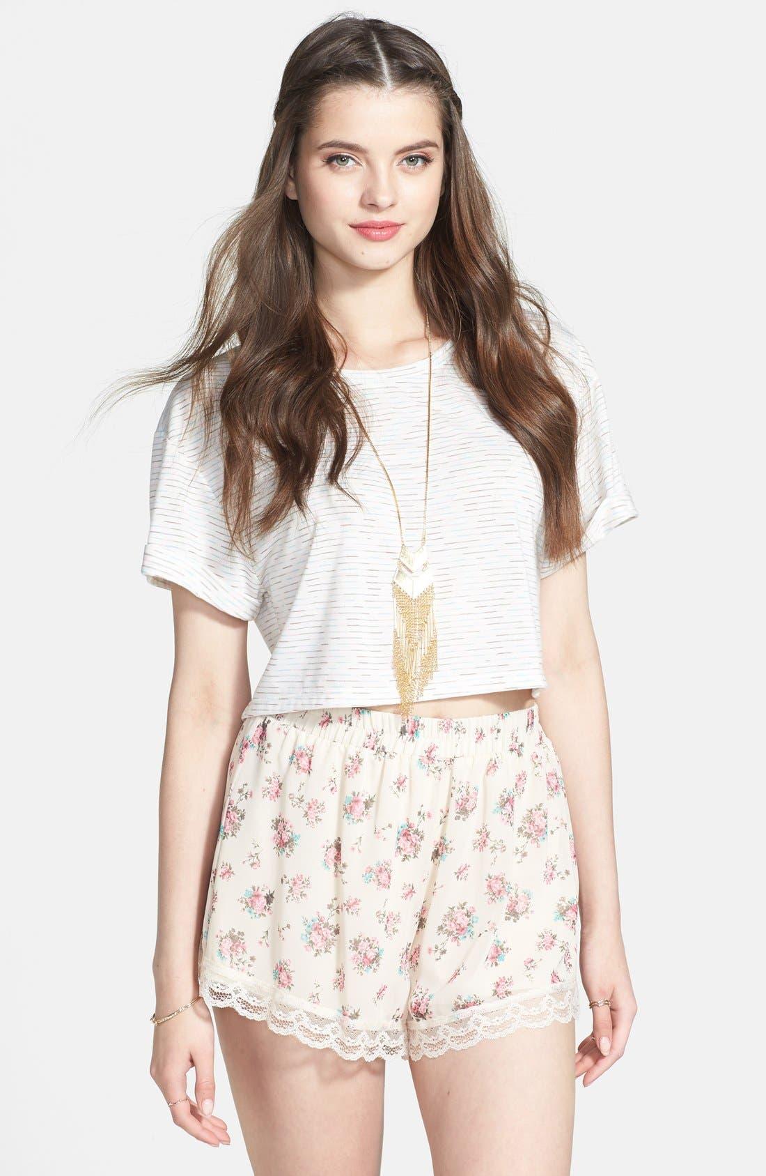 ,                             Lace Trim Floral Print Shorts,                             Main thumbnail 25, color,                             900