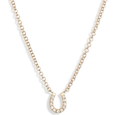 Ef Collection Diamond Mini Horseshoe Choker Necklace