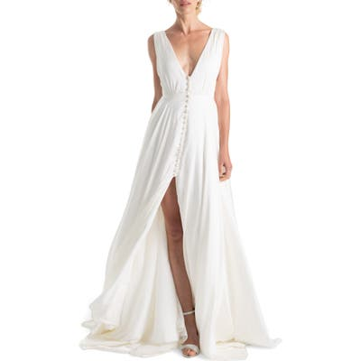 Joanna August Joplin Slit Front Button-Up V-Neck Wedding Dress, White