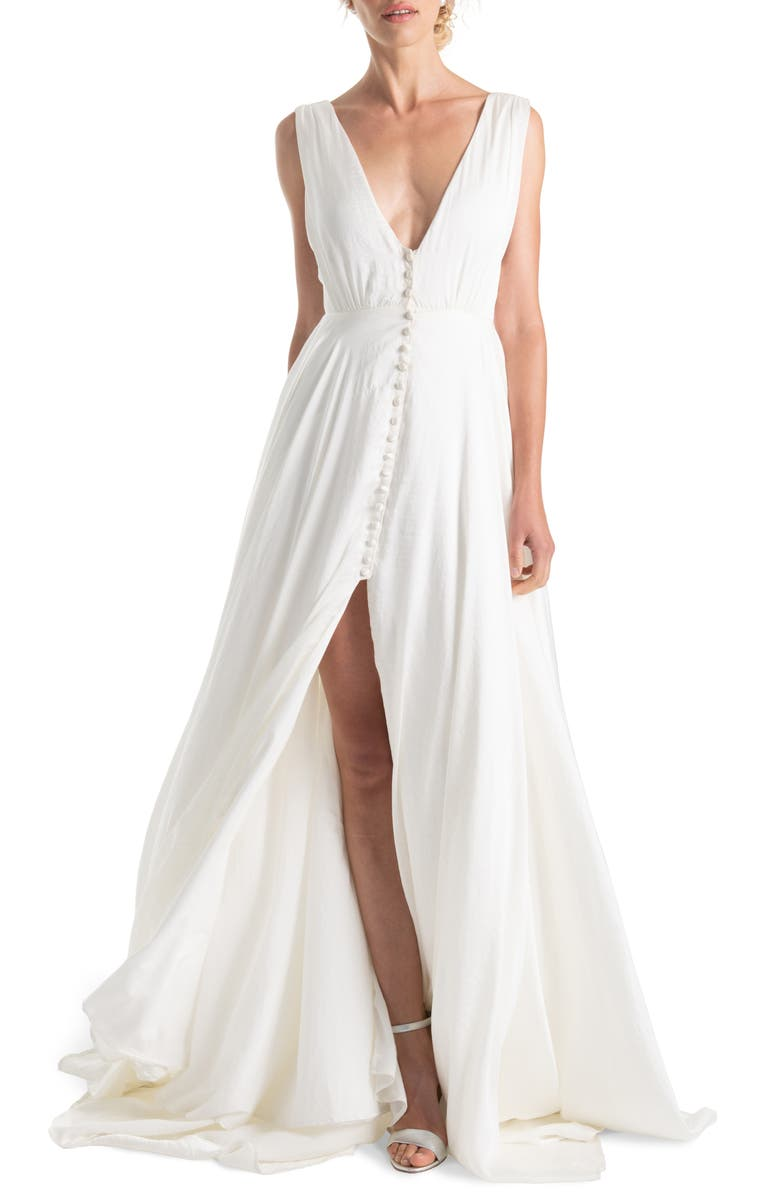 JOANNA AUGUST Joplin Slit Front Button-Up V-Neck Wedding Dress, Main, color, WHITE