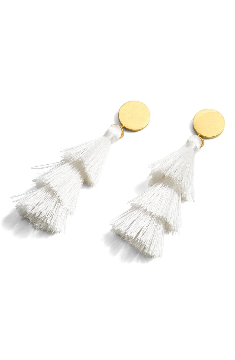 J.CREW Tiered Tassel Earrings, Main, color, 100