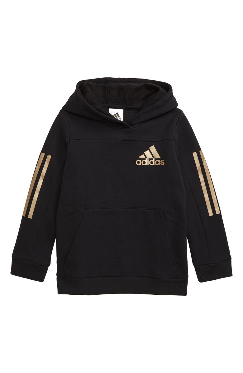 ADIDAS Fleece Hoodie, Main, color, BLACK/ COPPER