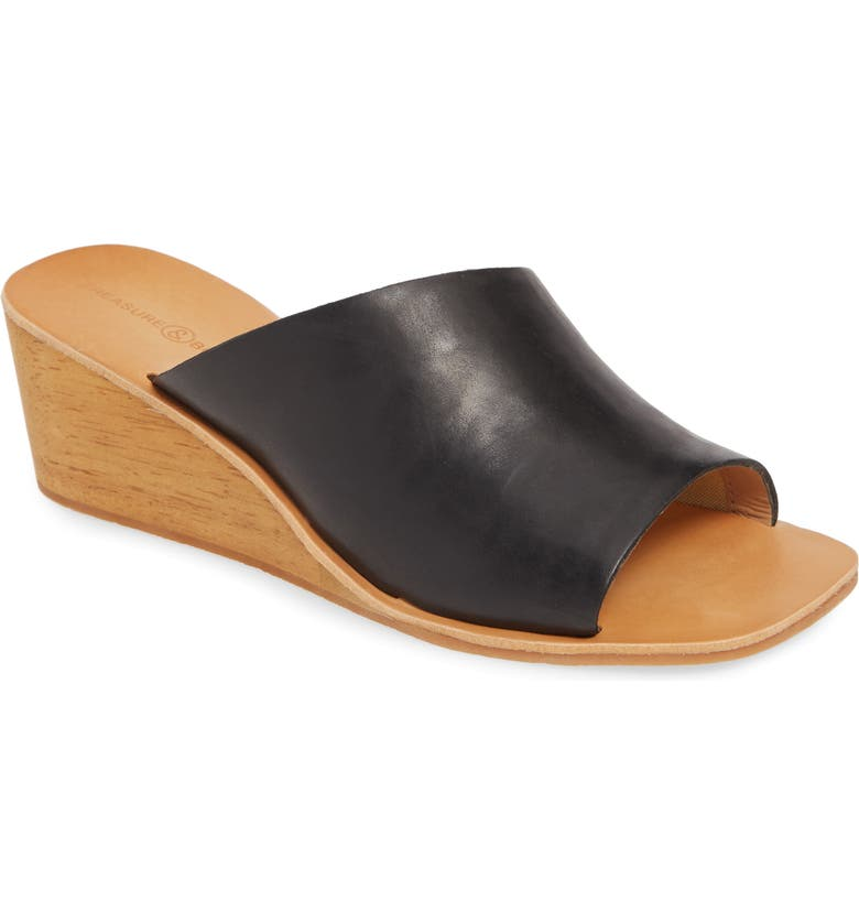 TREASURE & BOND Valerie Wedge Slide Sandal, Main, color, BLACK LEATHER
