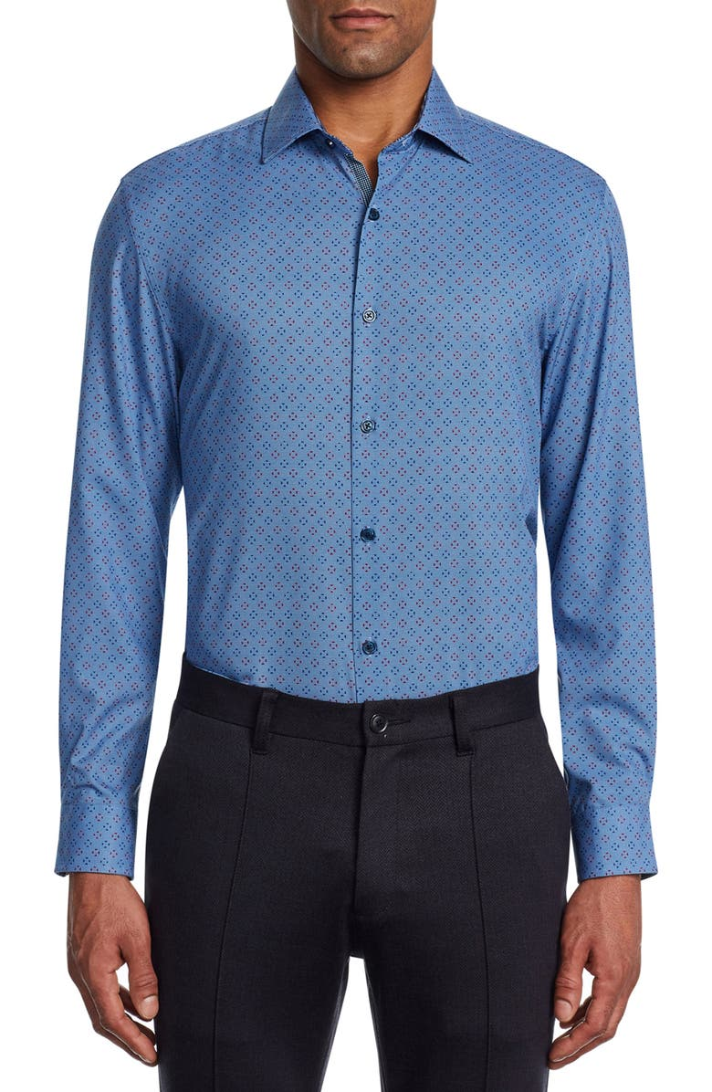 W.R.K Trim Fit Stretch Print Performance Dress Shirt, Main, color, NAVY/ RED