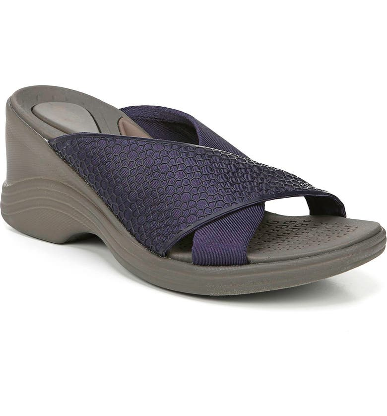 BZEES Harmony Wedge Slide Sandal, Main, color, NAVY FABRIC