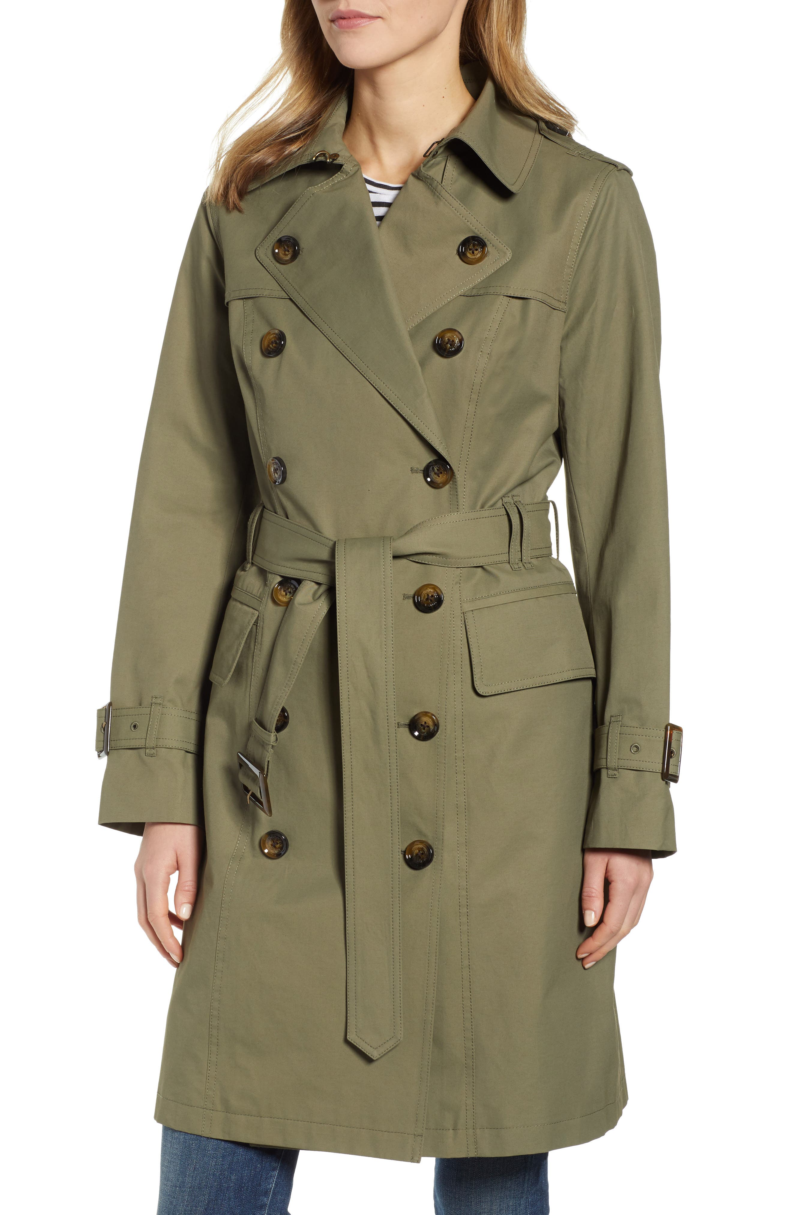 London Fog Water Repellent Trench Coat, Green