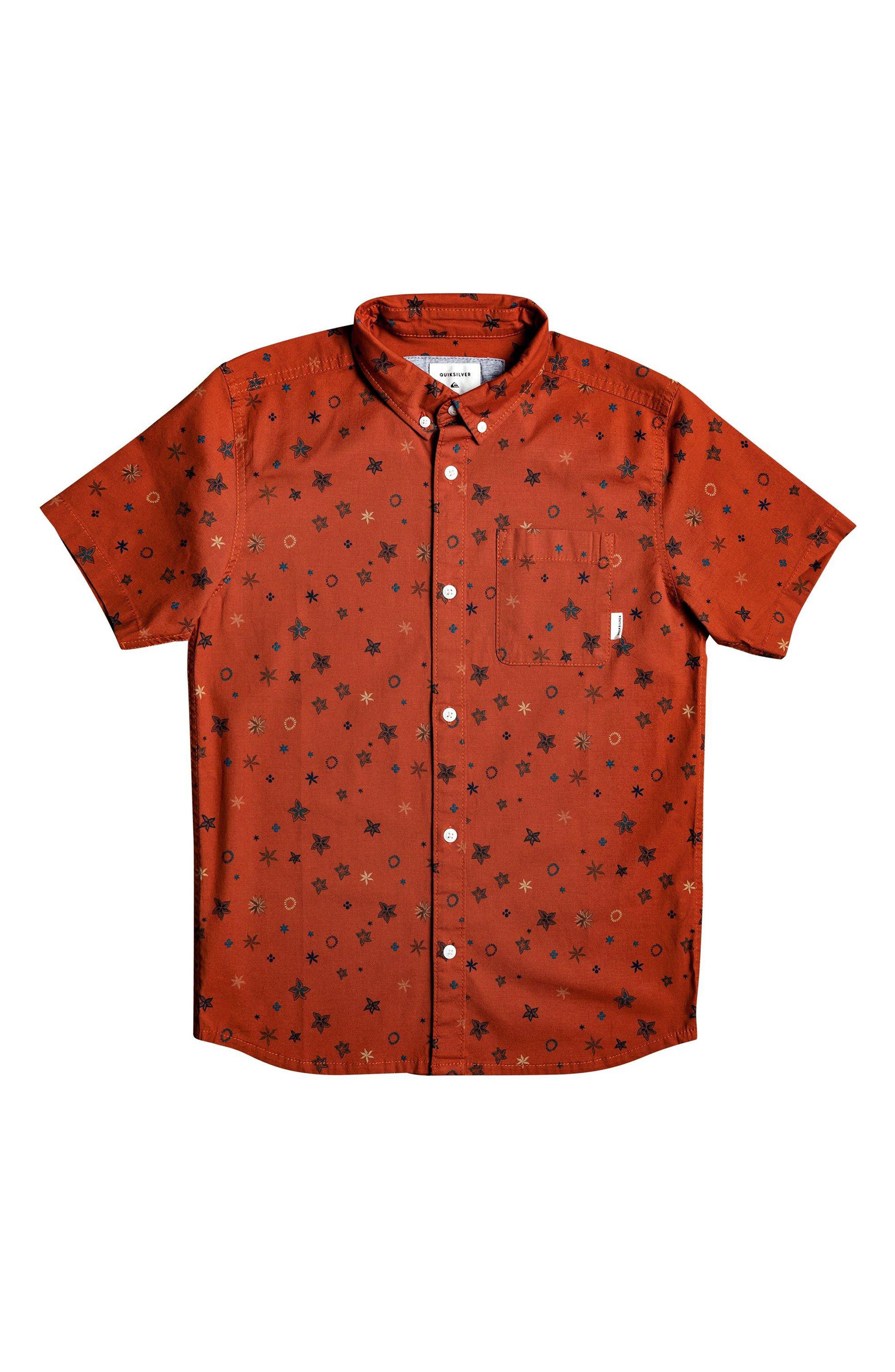 Boys Quiksilver Ditsy Print ButtonDown Shirt Size L (14)  Red
