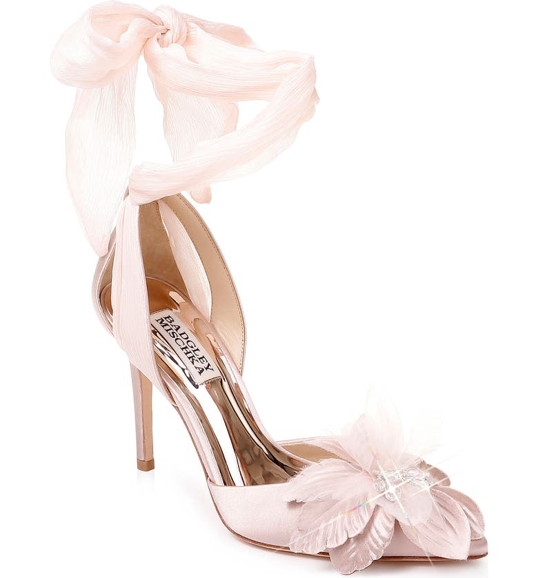 BADGLEY MISCHKA COLLECTION Badgley Mischka Alondra Ankle Wrap Sandal, Main, color, BLUSH SATIN