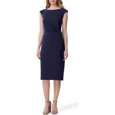 Petite Tahari Side Tie Stretch Crepe Sheath Dress, Blue