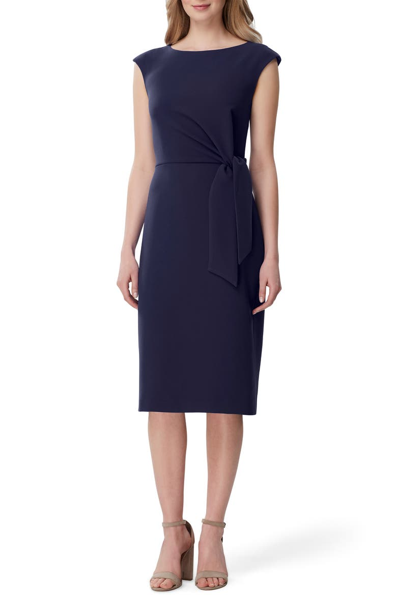 TAHARI Side Tie Stretch Crepe Sheath Dress, Main, color, 412
