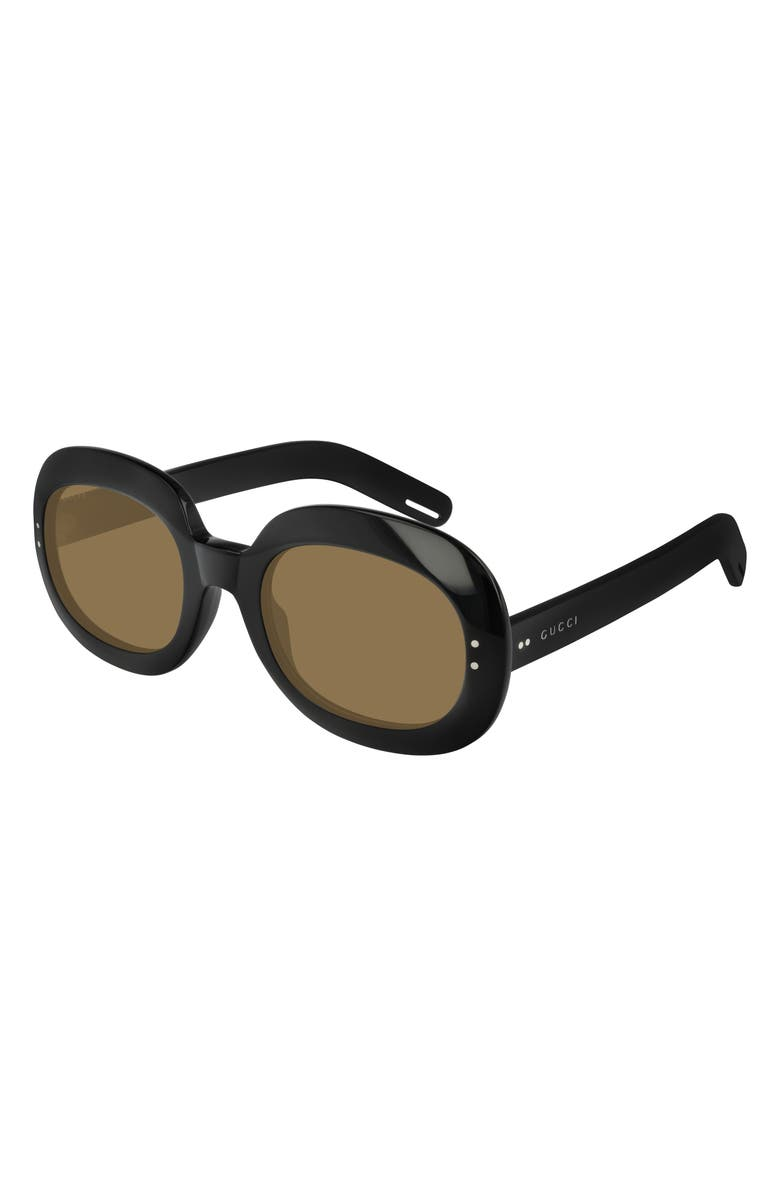 GUCCI 56mm Round Sunglasses, Main, color, SHINY BLACK