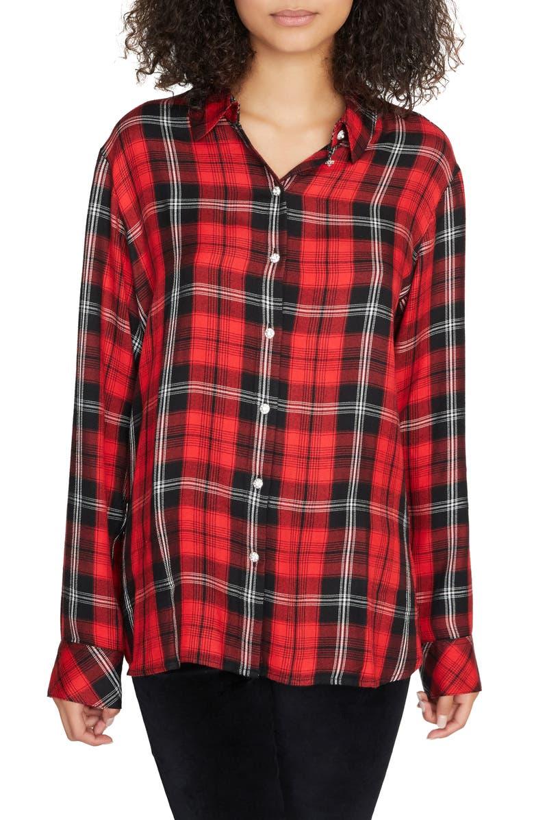 SANCTUARY Life of the Party Plaid Boyfriend Shirt, Main, color, PARTY RED PLAID