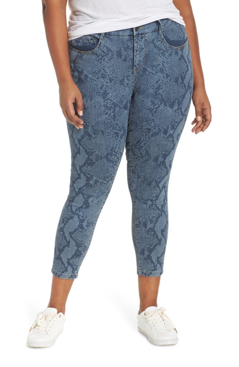 YSJ Snake Print Ankle Skinny Jeans, Main, color, SERPENTINE WASH
